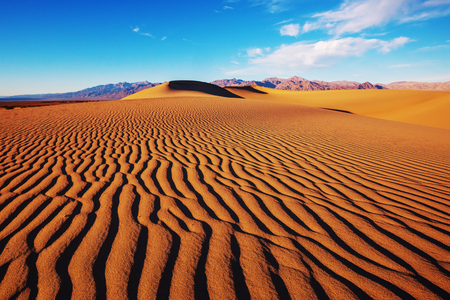 Sand dunes in Death Valley National Park, California, USA. Living coral toned. Stock Photo