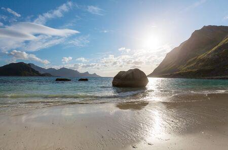 Beautiful landscapes in Lofoten islands, Northern Norway. Summer season.