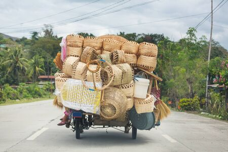 Baskets  in the car, Indonesia, Java island 写真素材