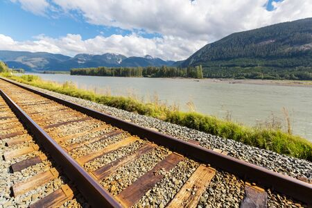 Railroad in the Canadian mountains Stok Fotoğraf