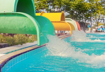 Blue waterpark on sky background Banque d'images - 124800078