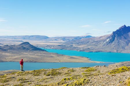 Hike in the Patagonian mountains, Argentina Stockfoto