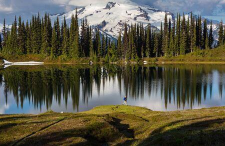 Image lake and Glacier Peak in Washington, USA Фото со стока
