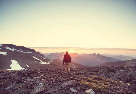 Man Hiking with sunset