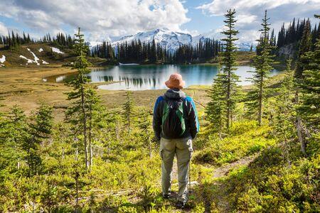 Image lake and Glacier Peak in Washington, USA Stock fotó