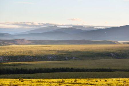 Tundra landscapes above Arctic circle Stock fotó