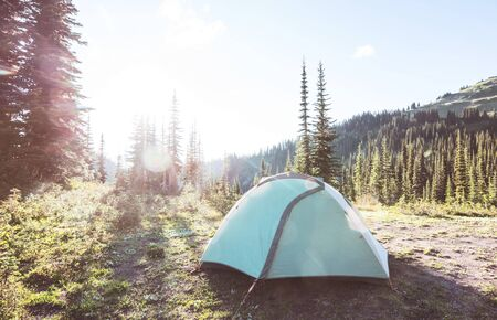 Hiking tent in the mountains. Mt Baker Recreation Area, Washington, USA