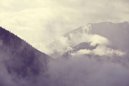 Fog in the high mountains. Beautiful natural landscapes.