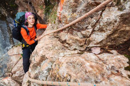 Girl Climber on the rock Stock fotó