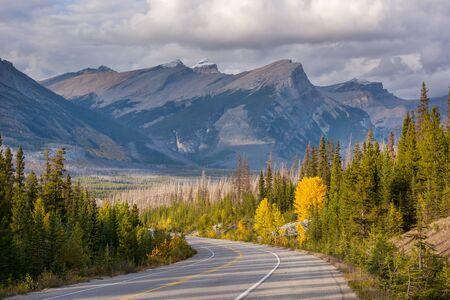 Beautiful autumn season in Canadian mountains. Fall background. Stock Photo
