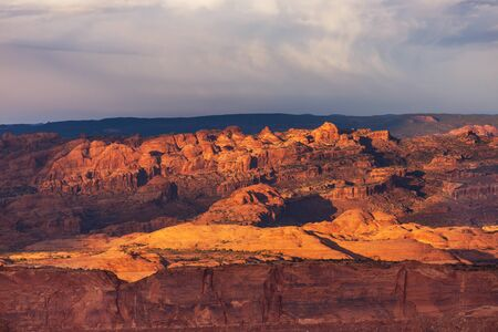Sandstone formations in Utah, USA. Beautiful Unusual landscapes. Фото со стока