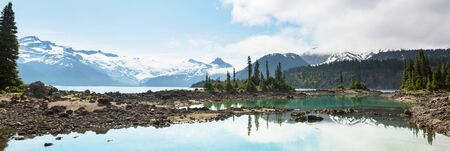 Hike to turquoise waters of picturesque Garibaldi Lake near Whistler, BC, Canada. Very popular hike destination in British Columbia. Stock fotó