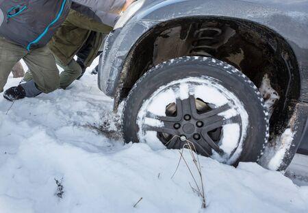 car got stuck in winter seaon