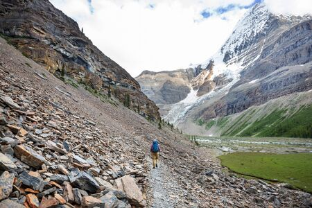 Hiking man in Canadian mountains. Hike is the popular recreation activity in North America. There are a lot of picturesque trails. Banque d'images