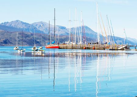 Sunny day in Ushuaia, is the capital of Tierra del Fuego province in Argentina. Stock Photo