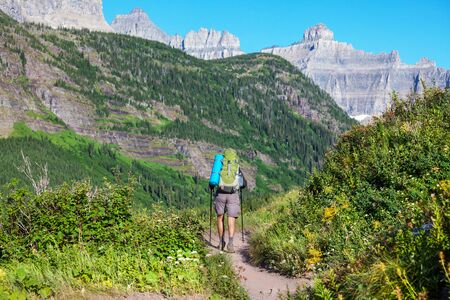 Hike in Glacier National Park, Montana Reklamní fotografie