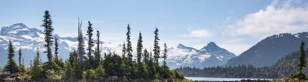 Hike to turquoise waters of picturesque Garibaldi Lake near Whistler, BC, Canada. Very popular hike destination in British Columbia. Reklamní fotografie
