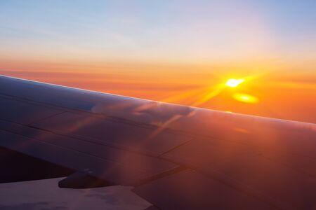 Window in the aircraft cabin. Travel background. 版權商用圖片