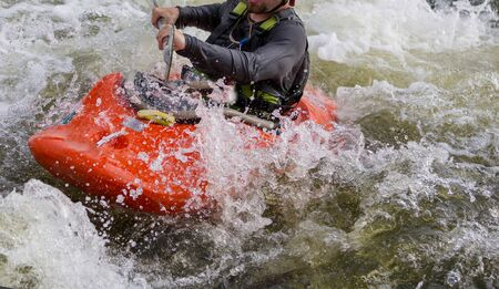 Whitewater kayaking, extreme kayaking in mountain river