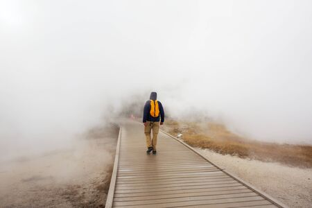 Tourist in Yellowstone National Park, USA