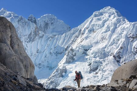 Hiking scene in Cordillera mountains, Peru