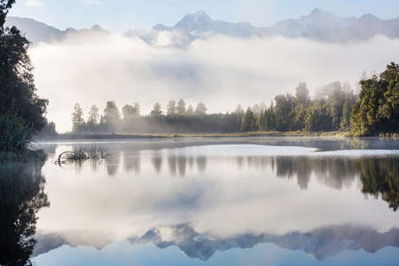 Beautiful natural landscapes of Mt Cook reflection in Lake Matheson, South Island, New Zealand Stock fotó