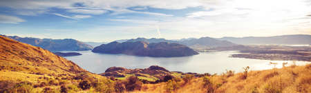 Traveler hiking in Roys Peak. New Zealand. Lake Wanaka