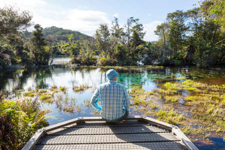 Blue Pool in New Zealand. Clear blue river near Hokitika. Beautiful natural landscapes.