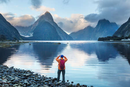 Amazing natural landscapes in Milford Sound, Fiordland National Park, New Zealand 免版税图像
