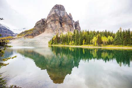 Amazing mountain landscapes in Mount Assiniboine Provincial Park, British Columbia, Canada Autumn season Stock Photo