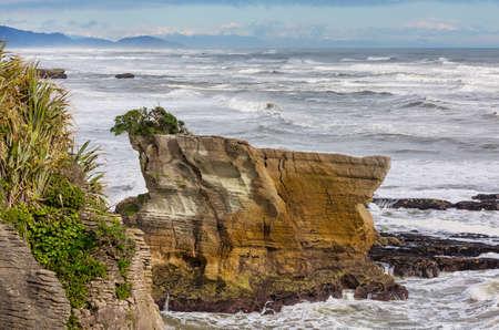 Punakaki Pancake Rocks in Paparoa National Park, West Coast, South Island, New Zealand . Beautiful natural landscapes