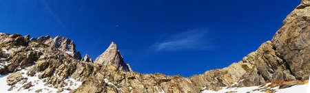 Man with hiking equipment walking in Sierra Nevada mountains, California, USA