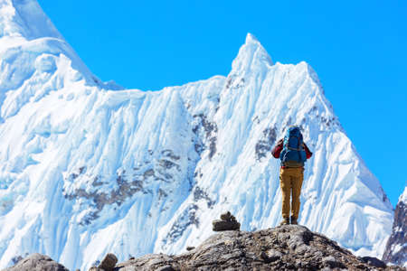 The climb in high snowy mountains