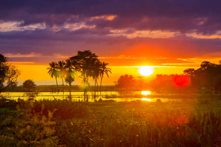 Fantastic tropical sunset in a rural landscapes, Mexico