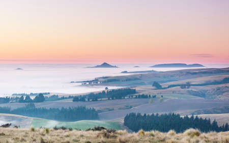Amazing foggy rural landscapes at morning. New Zealand beautiful nature