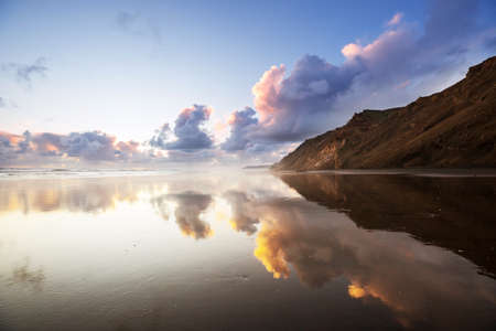 Beautiful landscapes it the Ocean Beach, New Zealand. Inspiring natural and travel background