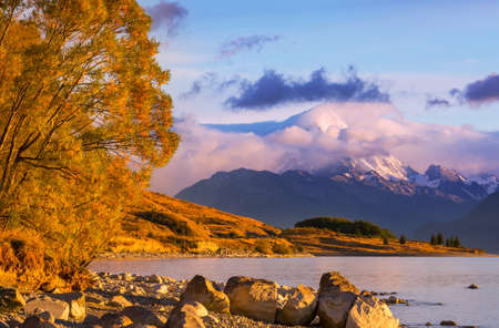 View of the majestic Aoraki Mount Cook,  New Zealand Banque d'images