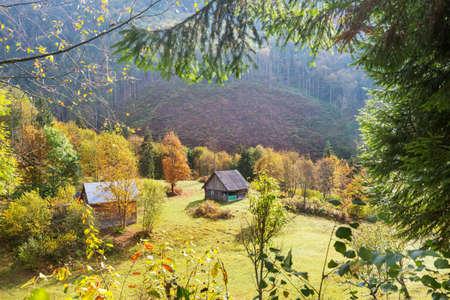 Autumn scene of mountain village, autumn season  in Carpathians