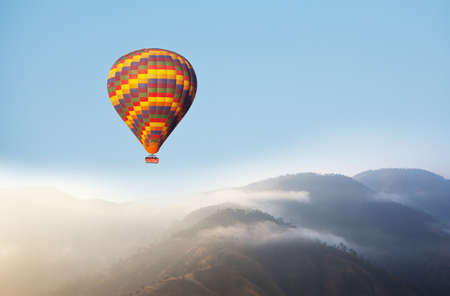 Balloons above . Travel natural background. travel freedom flight