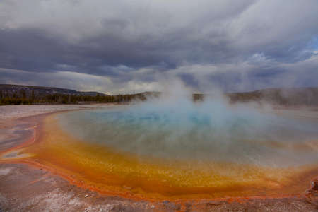 Inspiring natural background. Pools and  geysers  fields  in Yellowstone National Park, USA.