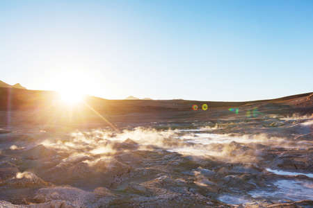 Geysers Sol de Manana in Bolivia. Unusual natural landscapes