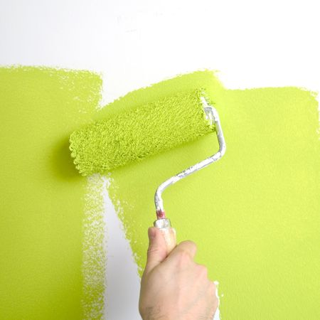 painting a wall in spring colors Stock Photo