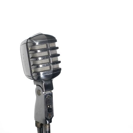 vintage microphone (white background and copy space) photo