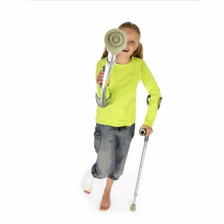 girl with a broken leg Stock Photo - 667573