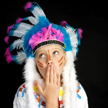girl playing indian (black background) photo