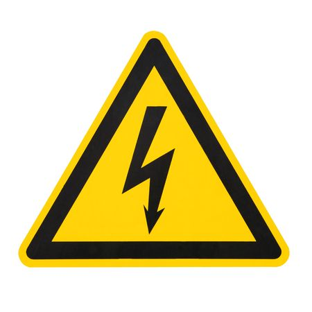 prevented: high voltage sign (isolated on white