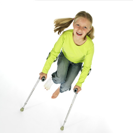 girl with a broken leg  Stock Photo