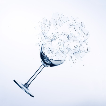 broke: fallen wine glass  Stock Photo