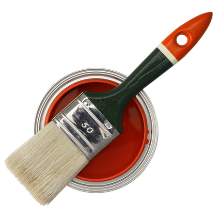 paintbucket: paint brush on top of a can filled with red paint (isolated on white)