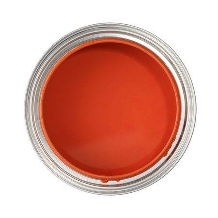 paintbucket: paint can filled with red paint (top view, isolated on white) Stock Photo